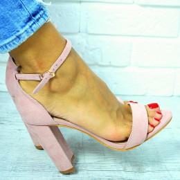 Sandały Różowe Zamszowe Słupek 7640