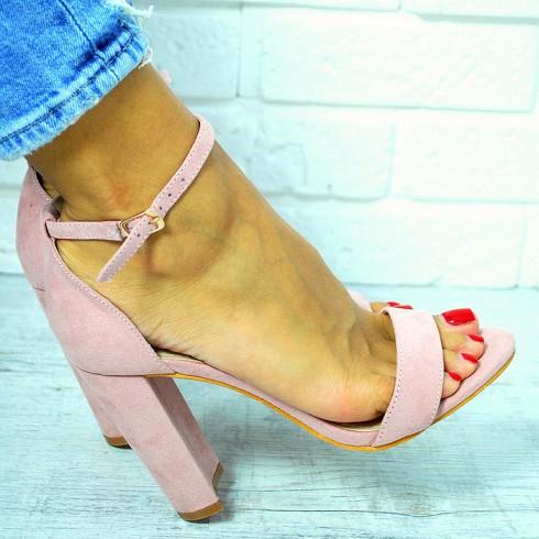 nie- Sandały Różowe Zamszowe Słupek 7640