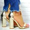 Sandały Metaliczne Złote Słupek 7645