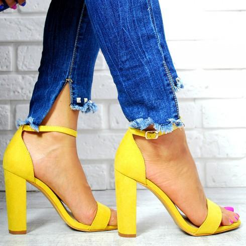 nie - Sandały Żółte Zamszowe Słupek 7646