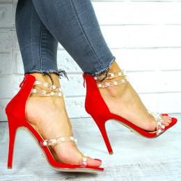 Sandały Czerwony Zamsz Silikownowe Paski 7652