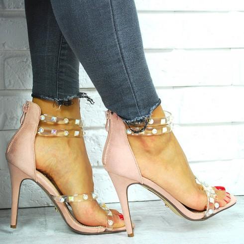 Sandały Różowy Zamsz Silikownowe Paski 7660