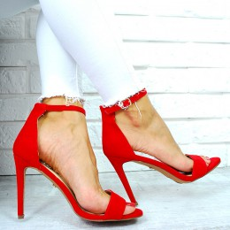 Sandały Zamszowa Czerwona Szpilka 7661