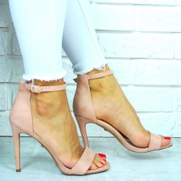 Sandały Zamszowa Różowa Szpilka 7668