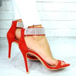 Sandały Czerwony Zamsz Cyrkoniowa Bransoleta 7676
