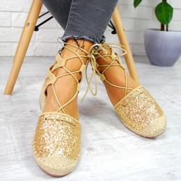 Espadryle Złoty Brokat Zamszowe Sandały 7685