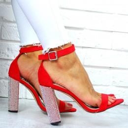Sandały Czerwony Zamsz Cyrkoniowy Słupek 7697