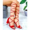 Sandały Czerwone Cyrkoniowy Słupek 7682