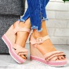 Sandały Różowe Zamszowe Koturna Perełki 7703