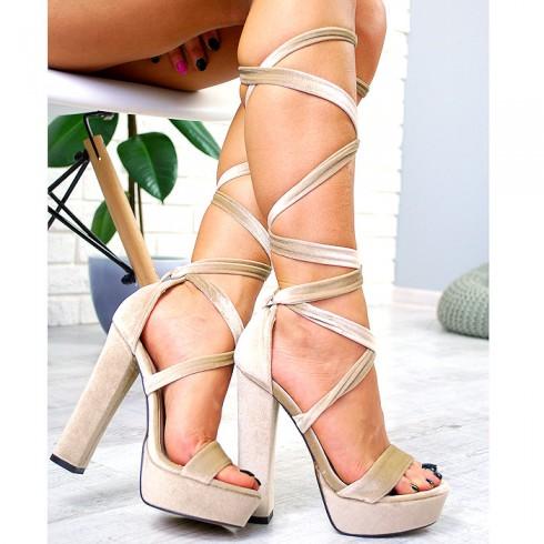 Sandały Welurowe Beżowe Paski 7708