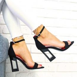 Sandały Zamszowe Czarne Awangardowy Obcas 7715