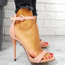 Sandały Różowa Zamszowa Klasyka 7744