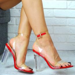 Sandały Czerwone Przezroczysty Pasek i Obcas 7771