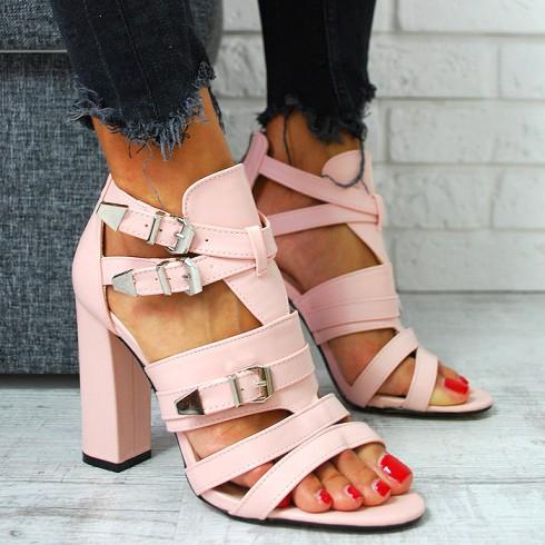 Sandały Różowe A'la Gladiatorki Słupek 7797