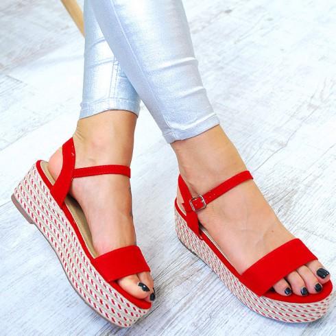 Espadryle Czerwone Sandały Na Platformie 7800