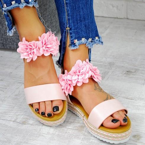 Sandały Różowa EkoSkóra w Kwiatki 7802