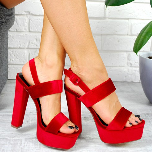 Sandały Modny Czerwony Welur Na Słupku 7803