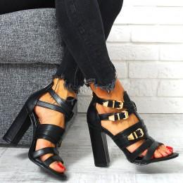 Sandały Czarne A'la Gladiatorki Słupek 7804