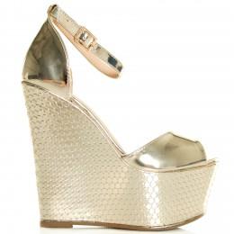 Sandały Złote Efekt Plastra Miodu 7732