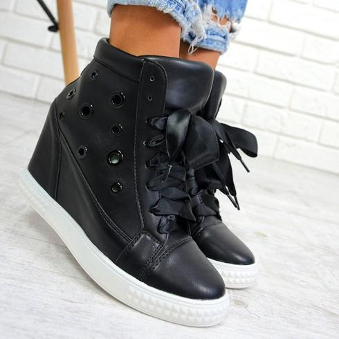 Trampki Czarne Sneakersy Ażurowe Kółka 7833