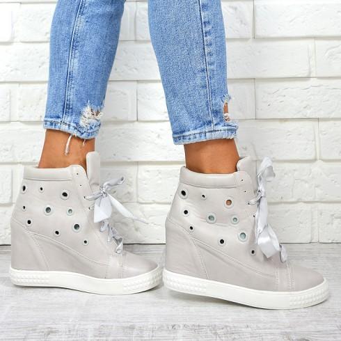 nie-Trampki Szare Sneakersy Ażurowe Kółka 7856