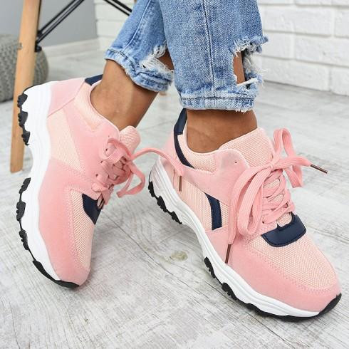 nie - Trampki Różowe Adidasy Granatowe Wstawki 7872