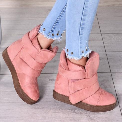 Trampki Różowe Ocieplane Sneakersy 7903