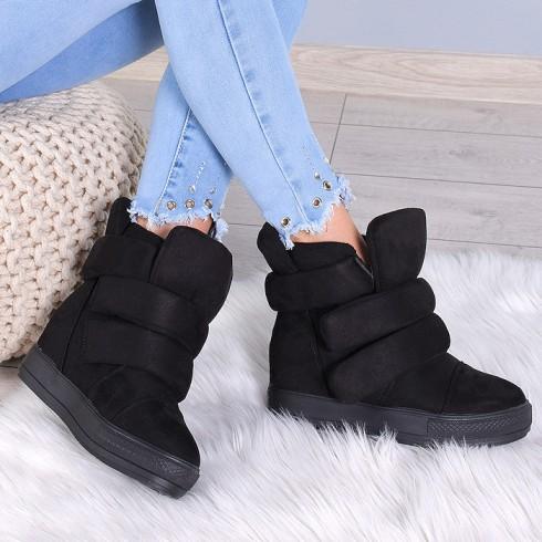 nie-Trampki Czarne Ocieplane Sneakersy 7921