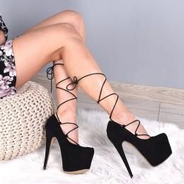 Czółenka Czarna Nietuzinkowa Ekstrawagancja Sexy 5672