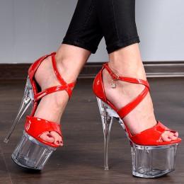 Sandały Czerwone Lakierowane Mega Sexy 7939