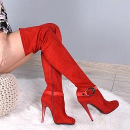 Muszkieterki Czerwone Na Matowej Szpilce 7975
