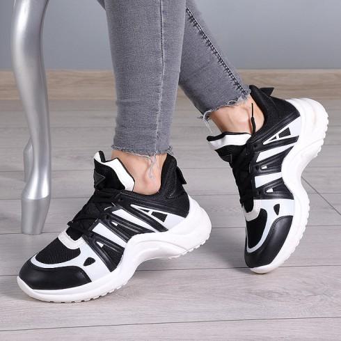 Trampki Biało Czarne Adidasy EkoSkóra 8029