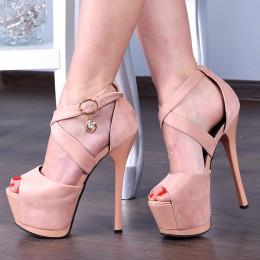 Sandały Różowy Lakier i Zamsz Zakryta Pięta 8074