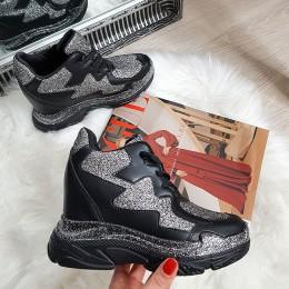 Sneakersy Czarne Na Urytej Koturnie Brokat 8147