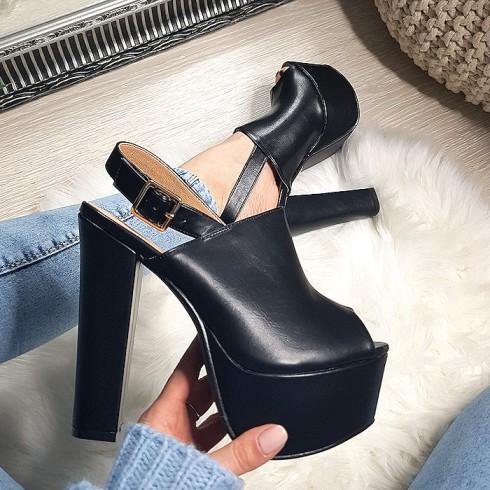 nie - Sandały Czarne Na Mega Słupku 8213