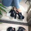 Sandały Czarne Na Mega Słupku 8213
