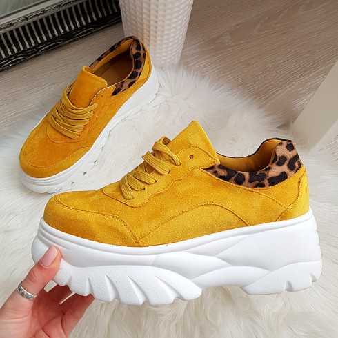 Trampki Sznurowane Żółte Adidasy 8206