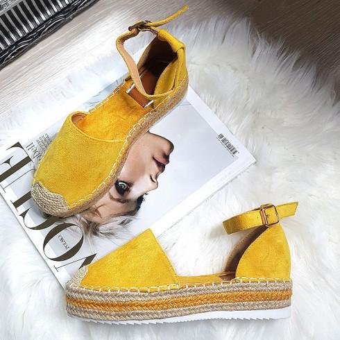 Sandały Żółte Zamszowe Espadryle 8226