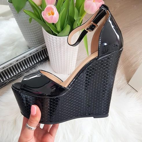 Sandały Czarne Efekt Plastra Miodu 6180