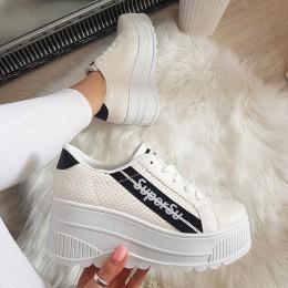 Trampki Białe Adidasy Na Platformie 8239