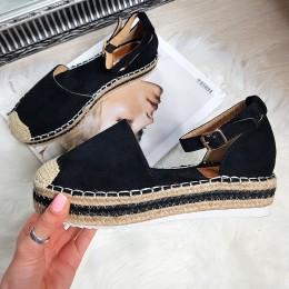 Sandały Czarne Zamszowe Espadryle 8241