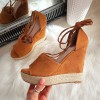 Sandały Zamszowe Rude Espadryle Na Koturnie 8238