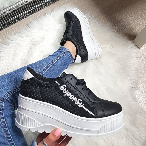 Trampki Czarne Adidasy Na Białej Platformie 8225