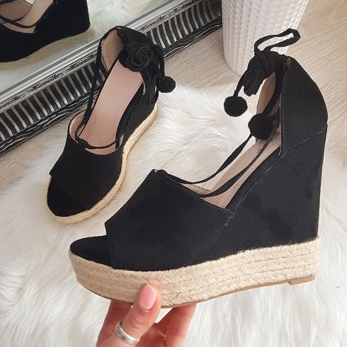 Sandały Zamszowe Czarne Espadryle Na Koturnie 8222