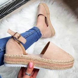 Sandały Różowe Zamszowe Espadryle 8234
