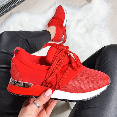 nie-Trampki Designerksie Czerwone Adidasy 8245