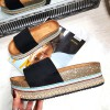 Klapki Czarne Zamszowe Kolorowa Platforma 8248