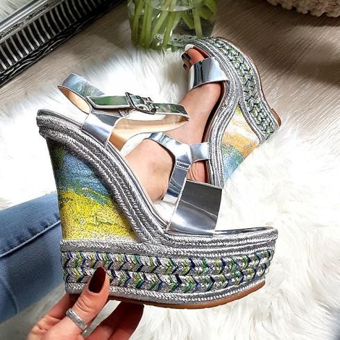 nie - Sandały Srebrny Lakierowany Marmurek 8249