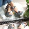 Sandały Srebrny Lakierowany Marmurek 8249