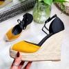 Sandały Zamszowe Czarno Zółte Koturny 8256